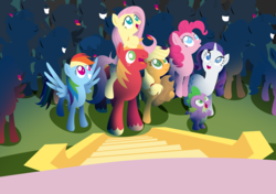 Size: 3400x2400 | Tagged: anonymous artist, applejack, big macintosh, crowd, dragon, eye reflection, female, fluttermac, fluttershy, hat off, lineless, looking up, male, no pupils, open mouth, pinkie pie, ponies riding ponies, rainbow dash, rarity, reflection, safe, series:fm holidays, shipping, silhouette, smiling, spike, spread wings, stage, stairs, straight, summer sun celebration, winged spike, wings