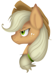 Size: 1588x2108 | Tagged: artist:tonyseil, bust, clone, earth pony, female, frown, mare, mean applejack, messy mane, narrowed eyes, pony, profile, safe, simple background, solo, the mean 6, transparent background