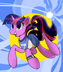 Size: 2450x2800 | Tagged: abstract background, artist:mazzianz, clothes, female, mare, open mouth, pony, safe, shirt, shorts, smiling, solo, sporty style, summer, sun, t-shirt, twilight sparkle, unicorn, unicorn twilight, workout outfit, wristband