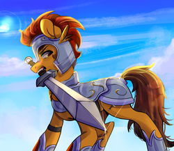 Size: 1928x1677 | Tagged: armor, artist:verashelenberg, earth pony, oc, oc only, pony, safe, sword, weapon, ych result