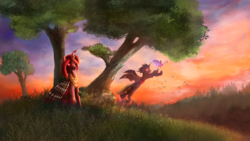 Size: 4609x2593 | Tagged: artist:stdeadra, changeling, changeling queen, changeling queen oc, commission, female, forest, moth, mothling, oc, oc only, oc:red flux, original species, red changeling, safe, scenery, sky, species swap, sunset, tree