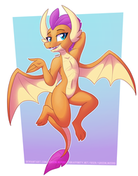 Size: 1008x1280 | Tagged: safe, artist:greenlinzerd, smolder, dragon, abstract background, arm behind head, armpits, bedroom eyes, belly button, cute, dragoness, female, flying, full body, looking at you, simple background, smiling, smolderbetes, solo