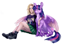 Size: 4000x2928 | Tagged: alicorn, artist:gaelledragons, artist:pixelkitties, boots, chest fluff, clothes, cloven hooves, commission, equestria girls ponified, female, hug, human, human female, one eye closed, ponified, pony, safe, sci-twi, scitwilicorn, shirt, shoes, simple background, smiling, transparent background, twilight sparkle, twilight sparkle (alicorn), winghug