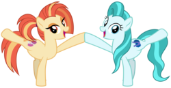 Size: 6200x3200   Tagged: safe, artist:cheezedoodle96, lighthoof, shimmy shake, earth pony, pony, 2 4 6 greaaat, .svg available, active stretch, cute, duo, female, looking at you, mare, missing accessory, raised leg, simple background, smiling, stretching, svg, transparent background, vector