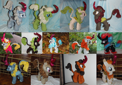 Size: 3499x2450 | Tagged: all kirins, artist:crazyditty, autumn afternoon, autumn blaze, background kirin, calm kirin, cinder glow, collected kirin, composed kirin, cool kirin, fall flower, fern flare, forest fall, kirin, maple brown, nirik, plushie, pumpkin smoke, rain shine, safe, sparkling brook, spring glow, summer flare, winter flame