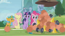Size: 1366x768 | Tagged: safe, screencap, fluttershy, pinkie pie, snails, twilight sparkle, alicorn, pony, 2 4 6 greaaat, ball, cone, dumbbell (object), jump rope, medicine ball, outdoors, rope, school of friendship, traffic cone, twilight sparkle (alicorn)