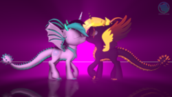Size: 3840x2160 | Tagged: 3d, alicorn, alicorn oc, artist:archiesfm, bandana, claws, clothes, dracony, dracony alicorn, horns, hybrid, kissing, mirror, oc, oc:archie cloud, oc:phoenix stardash, raised hoof, romance, romantic, safe, scarf, source filmmaker, spikes, spread wings, volumetric light, watermark, wings
