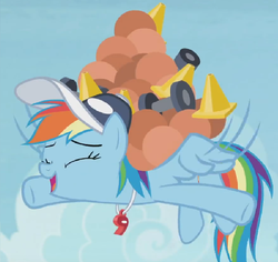Size: 728x686 | Tagged: safe, edit, edited screencap, screencap, rainbow dash, pony, 2 4 6 greaaat, ball, cap, cone, cropped, cute, dashabetes, dumbbell (object), excited, female, flying, hat, lifting, medicine ball, solo, traffic cone, whistle
