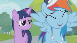 Size: 1366x768 | Tagged: 2 4 6 greaaat, alicorn, cap, eyes closed, hat, laughing, pony, rainbow dash, safe, screencap, spoiler:s09e15, twilight sparkle, twilight sparkle (alicorn), unamused