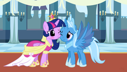 Size: 1920x1080 | Tagged: alicorn, alicornified, artist:navitaserussirus, artist:themexicanpunisher, big crown thingy, blushing, clothes, coronation dress, dress, edit, female, idw, jewelry, lesbian, princess of humility, race swap, regalia, safe, shipping, trixie, trixiecorn, twilight sparkle, twilight sparkle (alicorn), twixie