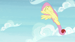 Size: 1920x1080 | Tagged: 2 4 6 greaaat, ball, cloud, eyes closed, female, fluttershy, flying, mare, pegasus, pony, safe, screencap, sky, solo, spoiler:s09e15, tail hold