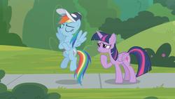 Size: 1362x768 | Tagged: safe, screencap, rainbow dash, twilight sparkle, alicorn, pony, 2 4 6 greaaat, cap, eyes closed, flying, hat, sidewalk, smug, twilight sparkle (alicorn), whistle