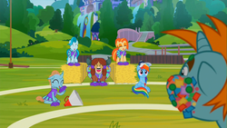 Size: 1920x1080 | Tagged: safe, screencap, lighthoof, ocellus, rainbow dash, shimmy shake, snips, yona, changedling, changeling, earth pony, pegasus, pony, unicorn, yak, 2 4 6 greaaat, buckball field, cheerleader ocellus, cheerleader outfit, cheerleader yona, clothes, colt, confetti, eyes closed, female, hay bale, laughing, male, mare, megaphone, nature, pom pom, scenery, school of friendship, waterfall