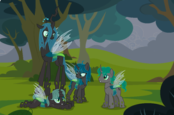 Size: 4256x2808 | Tagged: artist:staricy097, changeling, changeling queen, female, male, oc, oc:arya, oc:green shadow, oc:sweet revenge, parent:queen chrysalis, queen chrysalis, safe