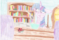 Size: 2048x1407 | Tagged: safe, artist:ragmo, twilight sparkle, ladybug, pony, book, bookshelf, bowl, coloured pencil, spoon, traditional art