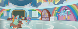 Size: 1900x720 | Tagged: safe, edit, edited screencap, screencap, lighthoof, ocellus, rainbow dash, shimmy shake, smolder, snips, yona, dragon, pegasus, yak, 2 4 6 greaaat, bailing out, banner, cabinet, cap, cloud, door, face paint, flag, flying, gym, hat, on top, open door, panorama, podium, rainbow, top hat, trophy