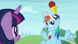 Size: 1920x1080   Tagged: safe, screencap, rainbow dash, twilight sparkle, alicorn, pony, 2 4 6 greaaat, ball, cap, cone, hat, twilight sparkle (alicorn)