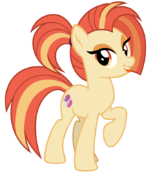 Size: 2800x3200   Tagged: safe, artist:cheezedoodle96, shimmy shake, earth pony, pony, 2 4 6 greaaat, .svg available, female, looking at you, mare, ponytail, raised hoof, simple background, smiling, solo, svg, tongue out, transparent background, vector