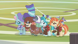 Size: 1360x768 | Tagged: 2 4 6 greaaat, bow, clothes, cloven hooves, face paint, female, fence, field, flag, hair bow, hat, lighthoof, monkey swings, ocellus, outdoors, pleated skirt, ponytail, ribbon, safe, scarf, screencap, shimmy shake, skirt, spoiler:s09e15, sweater, top hat, whistle, wig, yak, yona