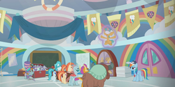 Size: 1366x684 | Tagged: safe, screencap, lighthoof, ocellus, rainbow dash, shimmy shake, smolder, snails, snips, yona, changedling, changeling, dragon, earth pony, pegasus, pony, unicorn, yak, 2 4 6 greaaat, blindfold, blindfolded, cap, chest, colt, dragoness, face paint, female, flag, gym, hat, levitation, magic, magic aura, male, mare, merchandise, self-levitation, telekinesis, top hat, whistle