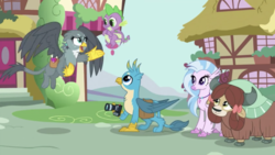 Size: 1334x750 | Tagged: safe, screencap, gabby, gallus, silverstream, spike, yona, dragon, griffon, hippogriff, yak, dragon dropped, bag, camera, cute, diastreamies, female, flying, gabbybetes, gallabetes, male, saddle bag, shipping fuel, wide eyes, winged spike, wings, yonadorable