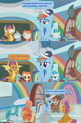 Size: 1366x2056 | Tagged: safe, edited screencap, screencap, lighthoof, ocellus, rainbow dash, shimmy shake, smolder, yona, changedling, changeling, dragon, earth pony, pegasus, pony, yak, 2 4 6 greaaat, ball, baseball cap, blindfold, blindfolded, cabinet, cap, clothes, cloud, coach rainbow dash, dialogue, door, dragoness, female, flying, giving up, gym, hat, mare, pleated skirt, ponytail, rainbow, screencap comic, skirt, speech bubble, trophy, whistle