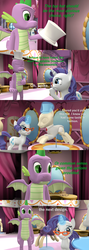 Size: 1920x5400 | Tagged: 3d, artist:papadragon69, carousel boutique, choose your own adventure, comic, comic:spike's cyosa, dragon, glasses rarity, older, older spike, rarity, safe, source filmmaker, spike, teenager, teenage spike, winged spike