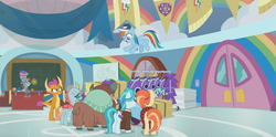 Size: 1366x676 | Tagged: 2 4 6 greaaat, banner, baseball cap, cabinet, cap, chalkboard, changedling, changeling, chest, cloud, coach rainbow dash, colt, door, dragon, dragoness, earth pony, face paint, female, flag, flying, gym, hat, levitation, lighthoof, magic, male, mare, ocellus, pegasus, pony, rainbow, rainbow dash, safe, screencap, shimmy shake, smolder, snips, spoiler:s09e15, telekinesis, top hat, towels, whistle, yak, yona