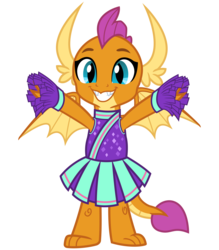 Size: 2800x3200   Tagged: safe, artist:cheezedoodle96, smolder, dragon, 2 4 6 greaaat, .svg available, cheering, cheerleader, cheerleader outfit, cheerleader smolder, clothes, cute, dragoness, female, hnnng, looking at you, pleated skirt, pom pom, simple background, skirt, smiling, smolderbetes, solo, spread wings, svg, transparent background, vector, wings