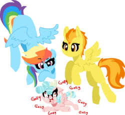 Size: 1368x1259 | Tagged: safe, artist:nootaz, cozy glow, rainbow dash, spitfire, pegasus, pony, angry, confused, female, filly, floppy ears, freckles, golly, mare, open mouth, spread wings, underhoof, wings