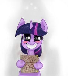 Size: 1184x1326 | Tagged: safe, artist:t72b, derpibooru exclusive, twilight sparkle, pony, unicorn, the point of no return, adorkable, blushing, book, bust, cute, dork, faic, female, hoof hold, mare, necronomicon, portrait, shadow, simple background, smiling, solo, starry eyes, wingding eyes