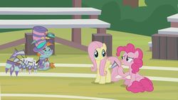Size: 1366x768 | Tagged: 2 4 6 greaaat, bleachers, face paint, fake smile, field, flag, fluttershy, hat, outdoors, photos, pinkie pie, pony, safe, screencap, snips, spoiler:s09e15, top hat