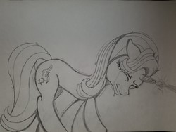 Size: 2016x1512 | Tagged: safe, artist:straighttothepointstudio, starlight glimmer, pony, unicorn, black and white, crying, eyes closed, female, grayscale, magic, monochrome, sad, shivering, solo, tears of pain, traditional art
