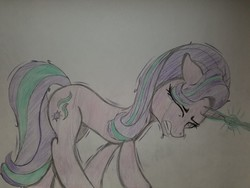 Size: 2016x1512   Tagged: safe, artist:straighttothepointstudio, edit, starlight glimmer, pony, unicorn, colored, crying, eyes closed, female, magic, sad, shivering, solo, tears of pain, traditional art