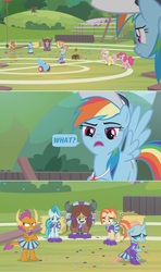 Size: 1360x2300 | Tagged: safe, edit, edited screencap, screencap, fluttershy, lighthoof, ocellus, pinkie pie, rainbow dash, shimmy shake, smolder, yona, changedling, changeling, dragon, earth pony, pegasus, yak, 2 4 6 greaaat, angry, bleachers, cap, cheerleader, cheerleader ocellus, cheerleader outfit, cheerleader smolder, cheerleader yona, clothes, comic, confetti, disappointed, dragoness, female, fence, field, frustrated, hat, hay, hay bale, indifferent, insensitivity, party cannon, plank, pom pom, rainbow douche, sad, screencap comic, skirt, upset, whistle