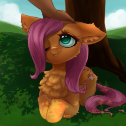 Size: 1200x1200 | Tagged: safe, artist:dasai, fluttershy, pegasus, pony, chest fluff, cute, dappled sunlight, ear fluff, female, floppy ears, fluffy, folded wings, hand, head pat, looking up, mare, nature, offscreen character, offscreen human, one eye closed, outdoors, pat, petting, prone, shyabetes, smiling, solo, three quarter view, tree, under the tree, wings