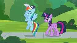 Size: 1920x1080 | Tagged: safe, screencap, rainbow dash, twilight sparkle, alicorn, pony, 2 4 6 greaaat, cap, hat, twilight sparkle (alicorn)