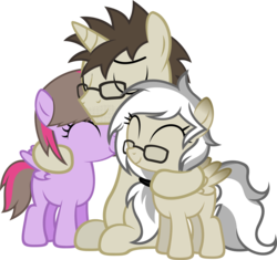 Size: 1814x1706 | Tagged: artist:zacatron94, female, filly, glasses, hug, male, oc, oc:artistic treasure, oc:blank novel, oc:captain white, oc:fantasy sparks, oc only, oc x oc, parent:oc:blank novel, parent:oc:captain white, parents:oc x oc, parents:whitenovel, pegasus, pony, safe, shipping, simple background, stallion, straight, transparent background, unicorn, vector, whitenovel