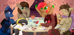 Size: 3108x1479 | Tagged: artist:magicbalance, changeling, changeling oc, commission, earth pony, monopoly, moth, mothling, oc, oc:elemental balance, oc only, oc:red flux, oc:zealous stripes, original species, pony, red changeling, safe, unicorn