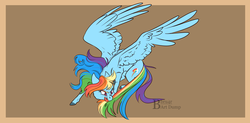Size: 1600x786 | Tagged: safe, artist:bbru4r, rainbow dash, pegasus, pony, behaving like a cat, brown background, chasing own tail, cutie mark, female, large wings, mare, narrowed eyes, simple background, solo, spread wings, tail bite, wings