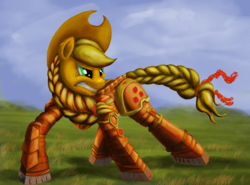 Size: 2480x1838 | Tagged: applejack, applejack's hat, armor, artist:ironicjest, color correction, cowboy hat, crossover, cutie mark, earth pony, edit, female, grass, gritted teeth, hat, mare, narrowed eyes, pony, power armor, safe, scar, solo, space marine, warhammer 40k, warhammer (game)