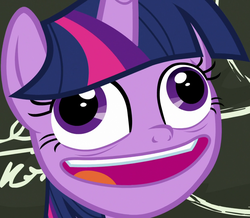 Size: 1236x1080 | Tagged: alicorn, best gift ever, chalkboard, crazy face, cropped, derp, faic, female, mare, open mouth, pony, pudding face, safe, screencap, smiling, solo, twilight snapple, twilight sparkle, twilight sparkle (alicorn), twilight sparkle is best facemaker, twilynanas, wall eyed, wat