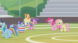 Size: 1366x764 | Tagged: 2 4 6 greaaat, berry blend, berry bliss, bleachers, cap, citrus blush, field, fluttershy, friendship student, groan, hat, november rain, pinkie pie, pony, rainbow dash, sad, safe, screencap, spoiler:s09e15, summer breeze, whistle, wrong cutie mark