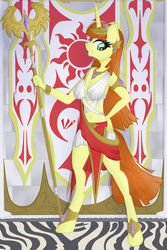 Size: 1632x2447 | Tagged: anthro, artist:virenth, clothes, female, jewelry, long hair, looking at you, oc, oc:hime cut, regal, regalia, safe, solo, staff, standing, unicorn
