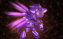 Size: 1500x938 | Tagged: artist:lunar froxy, commission, floppy ears, flying, oc, oc only, oc:shadow galaxy, patreon, patreon reward, pegasus, pony, robot, robot pony, safe, smiling, solo, spread wings, wings