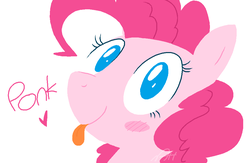 Size: 992x648 | Tagged: safe, artist:modocrisma, pinkie pie, earth pony, pony, :p, blush sticker, blushing, bust, cute, diapinkes, doodle, female, heart, legitimately amazing mspaint, looking at you, mare, ms paint, no pupils, ponk, portrait, simple background, smiling, solo, text, three quarter view, tongue out, watermark, white background
