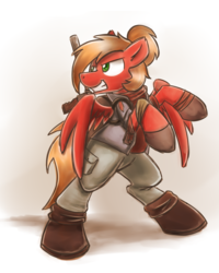 Size: 2048x2560 | Tagged: safe, artist:sugar morning, oc, oc only, oc:moonatik, pegasus, pony, backpack, bipedal, boots, clothes, commission, gun, hair bun, male, rearing, shoes, simple background, solo, stallion, weapon, white background, wings
