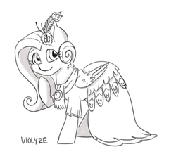 Size: 1280x1173 | Tagged: artist:violyre, artist:violyreart, clothes, dress, fluttershy, gala, gala dress, grand galloping gala, make new friends but keep discord, pegasus, pony, safe, shaded sketch, sketch