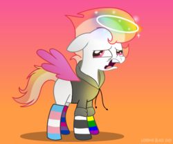 Size: 600x500 | Tagged: angel, angel pony, artist:lennonblack, blank flank, clothes, disgusted, halo, hoodie, mismatched socks, nonbinary, oc, oc only, oc:pastel cloud (angel), open mouth, original species, pony, pride, rainbow socks, safe, socks, solo, striped socks, ych result
