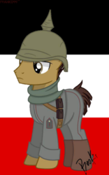 Size: 800x1280 | Tagged: artista:booker, commission, deutsch, flag, german, germany, male, military, military uniform, oc, oc:shield inv, pickelhaube, pony, safe, stallion, world war i